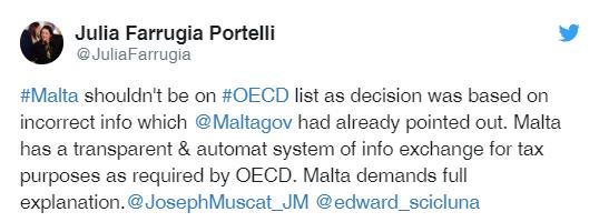 Il tweet di Julia Farrugia Portelli