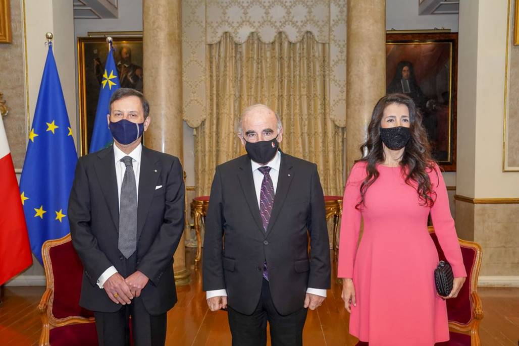 Sua Eccellenza Fabrizio Romano alla Cerimonia di presentazione delle Lettere Credenziali al Presidente di Malta George Vella (28 gennaio 2021)